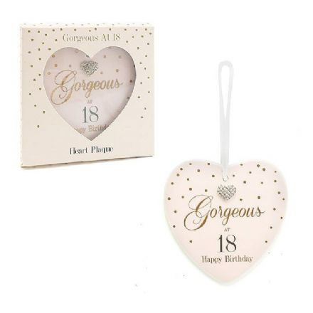 Gorgeous at 18 Happy Birthday Heart Plaque